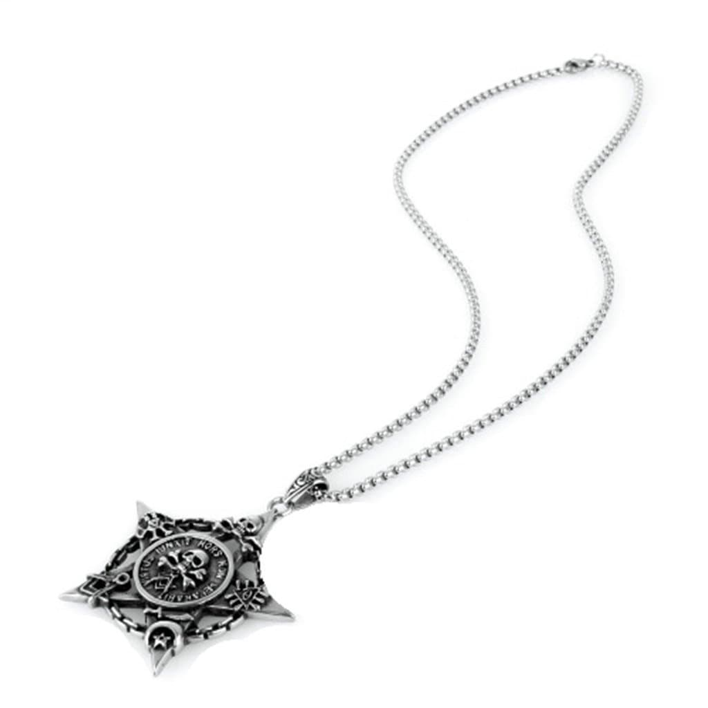 Stainless Steel Mens Skull Pentagram Pendant Necklace Fashion Silver Link