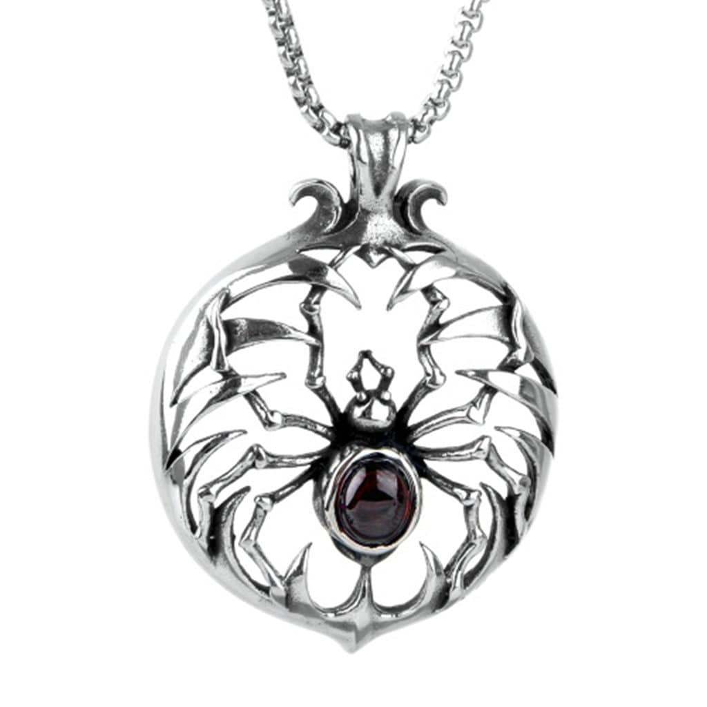 Stainless Steel Mens Round Spider Pendant Necklace Vintage Silver Link