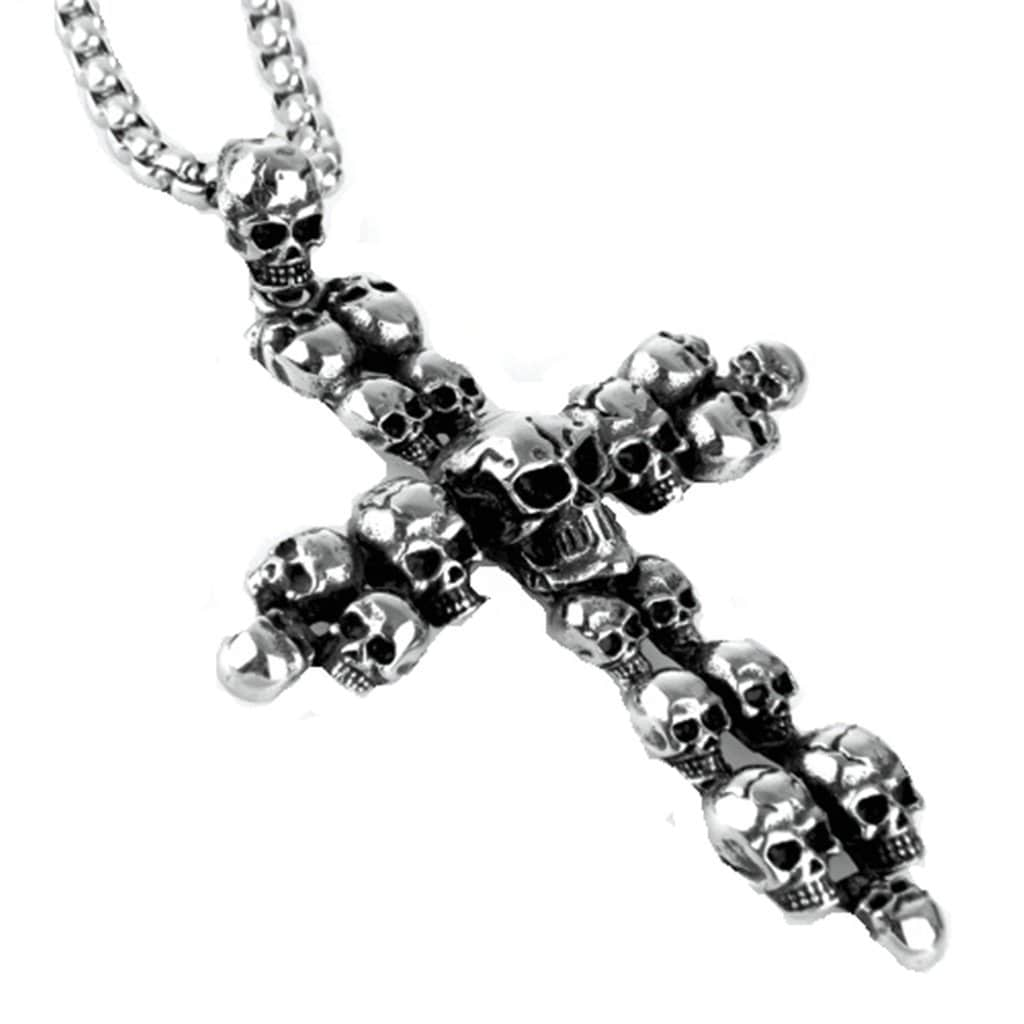 Stainless Steel Mens Skull Cross Pendant Necklace Fashion Silver Link