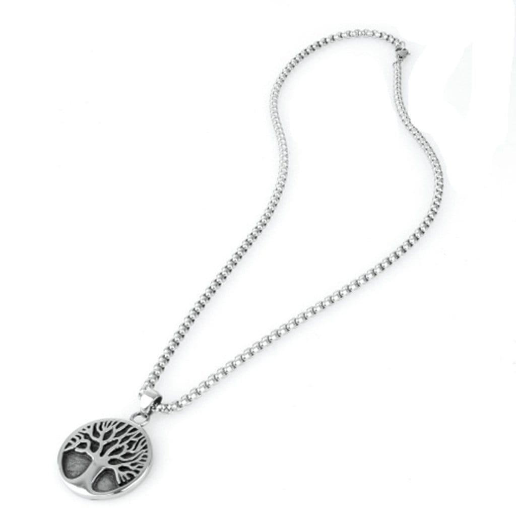 Stainless Steel Mens The Tree Of Life Pendant Necklace Fashion Silver Chain Link