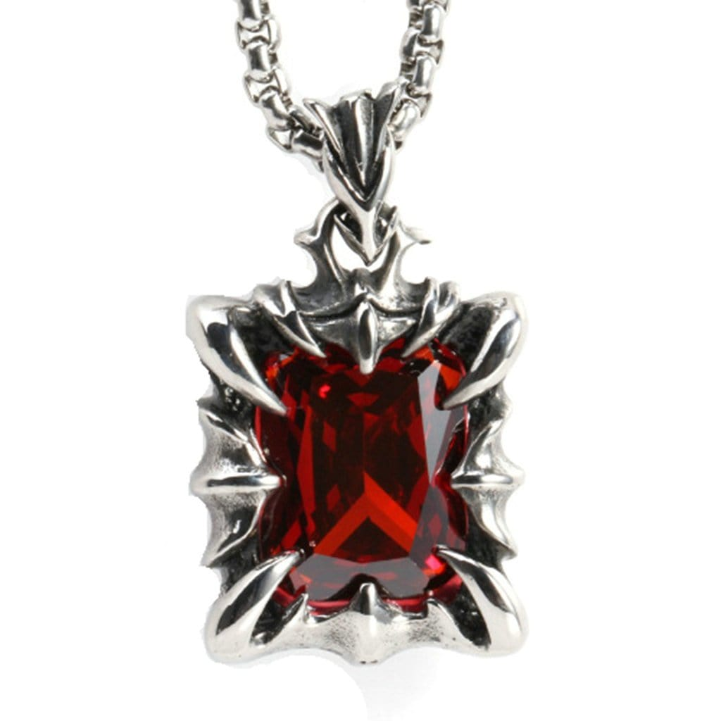 Stainless Steel Mens Red Zircon Square Pendant Necklace Fashion Silver Chain Link