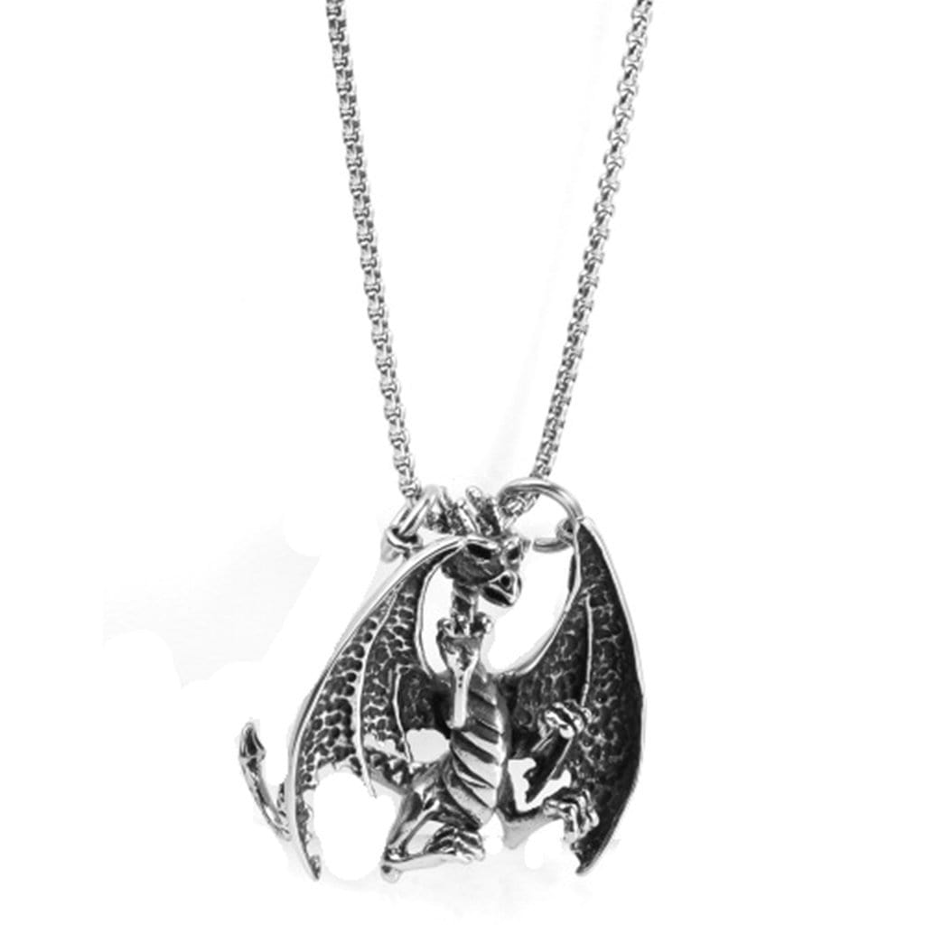 Stainless Steel Mens Flame Dragon Pendant Necklace Fashion Silver Chain Link