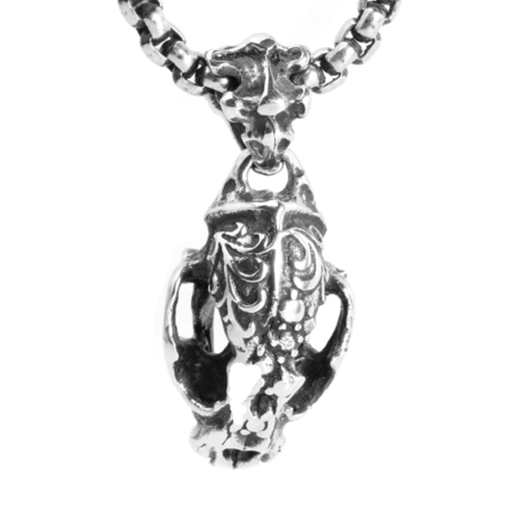Stainless Steel Mens Dragon Head Pendant Necklace Vintage Silver Chain Link