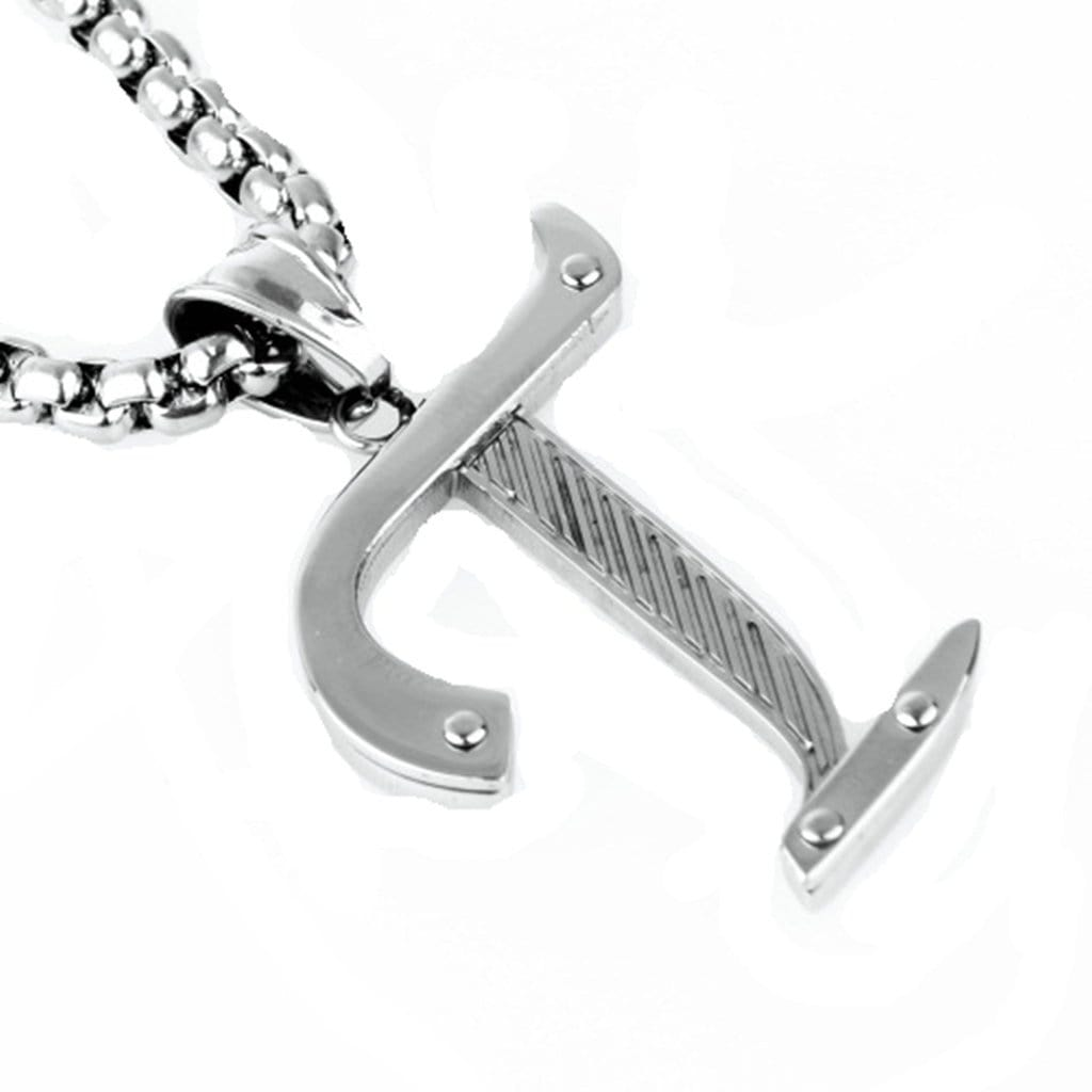 Stainless Steel Mens & Womens Alphabet Pendant Necklace Fashion Silver Chain Link