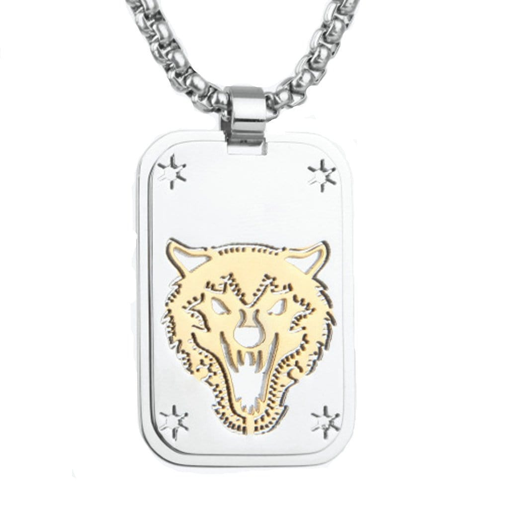 Stainless Steel Mens Wolf'S Head Pendant Necklace Fashion Silver Chain Free Engraving