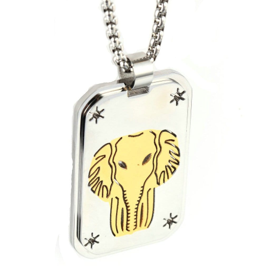 Stainless Steel Mens Gold Elephant Pendant Necklace Fashion Silver Chain Link