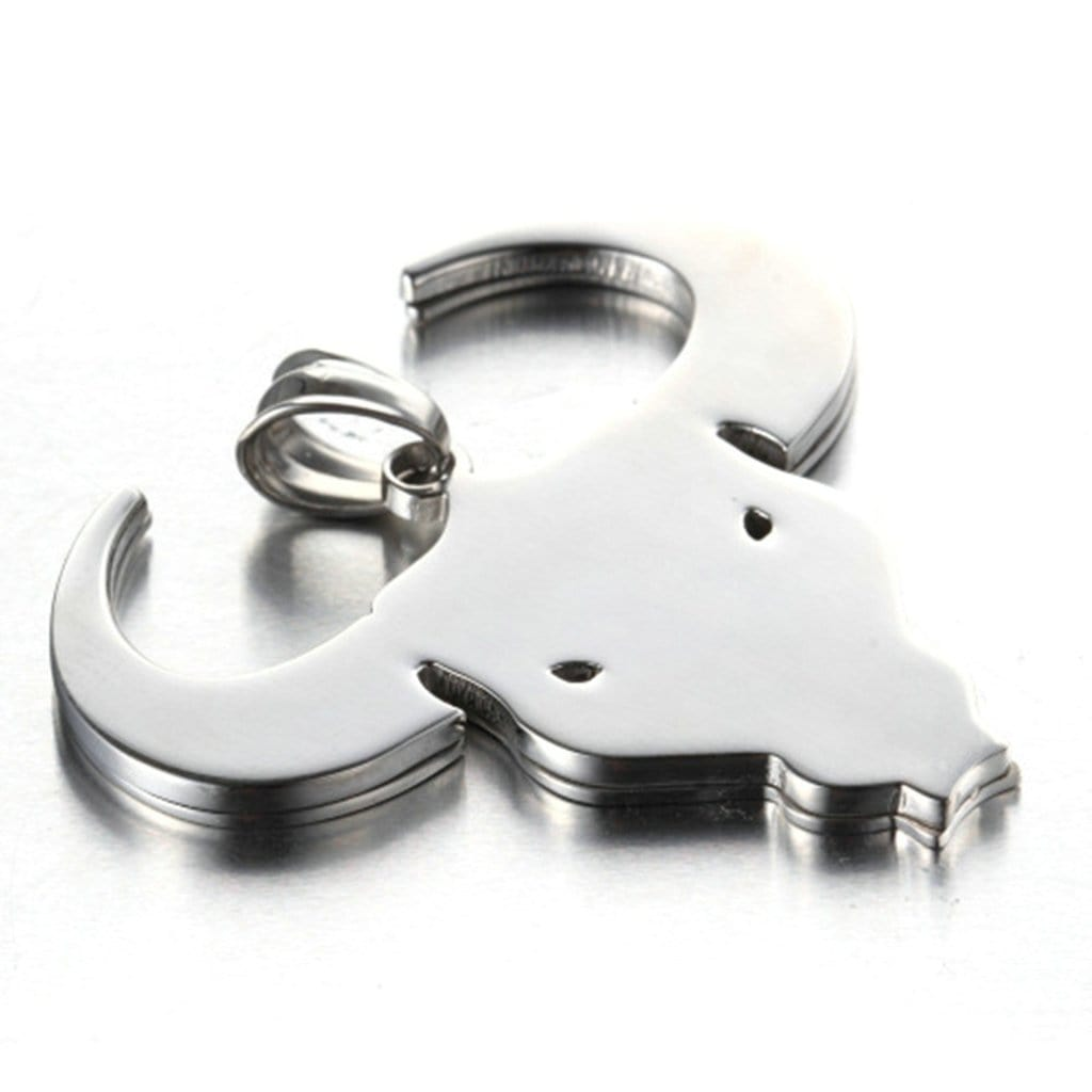 Stainless Steel Mens Polished Cow'S Head Pendant Necklace Fashion Silver Chain Link