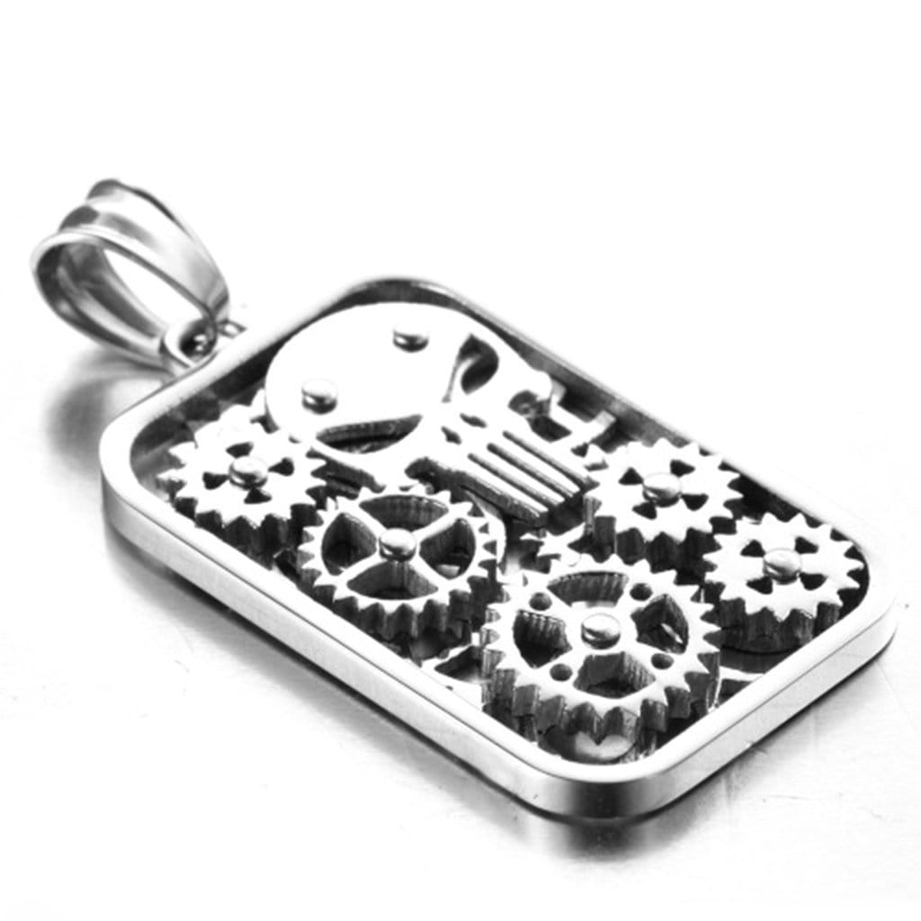 Stainless Steel Mens Gear Skull Pendant Necklace Fashion Silver Chain Link