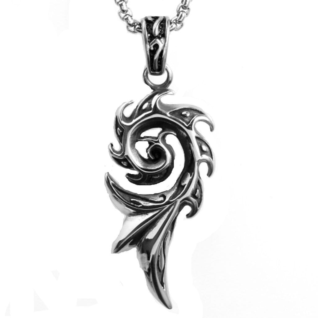Stainless Steel Mens Flame Pendant Necklace Fashion Silver Chain Link