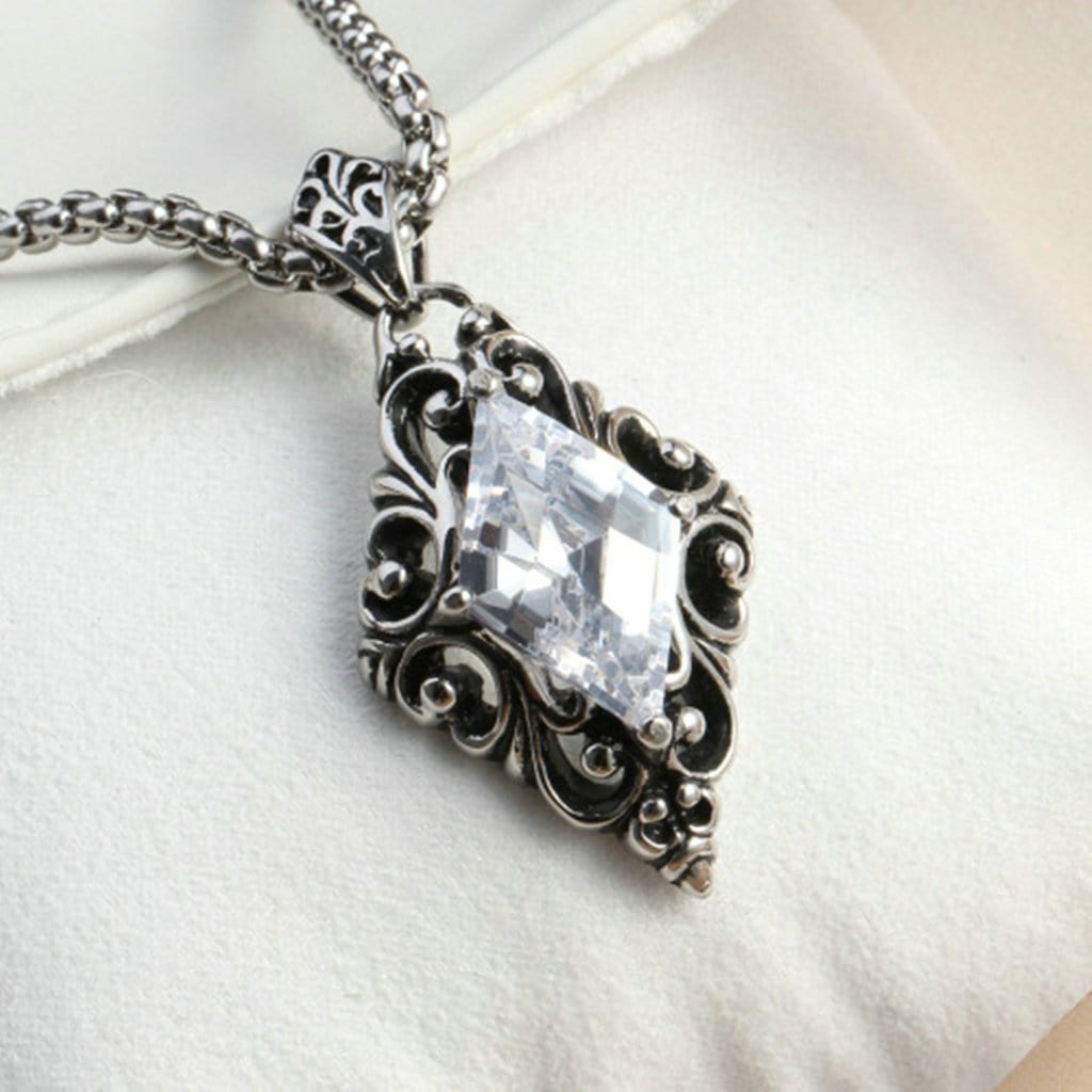 Stainless Steel Mens Zirconia Rhomboid Pendant Necklace Fashion Silver Chain Link