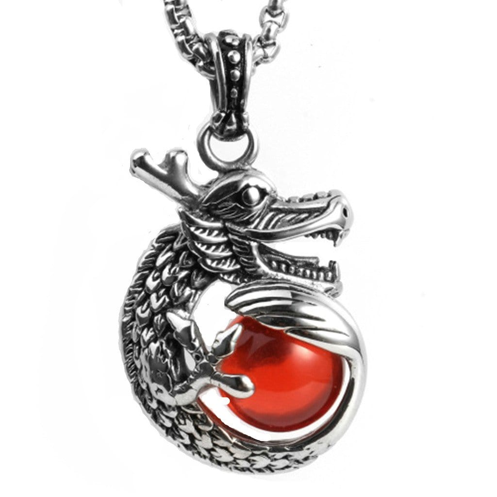 Men Necklace Viking Jewelry Stainless Steel Vintage Zircon Cz Dragon Pendant Red Silver Necklaces