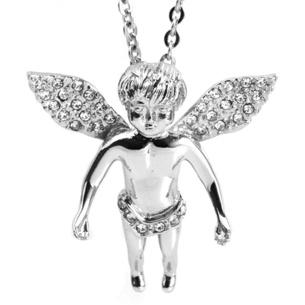 Stainless Steel Mens Diamont Litte Angel Pendant Necklace Fashion Silver Chain Link