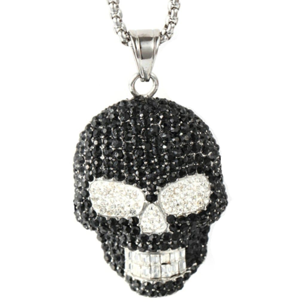 Stainless Steel Mens Zirconia Skull Pendant Necklace Fashion Silver Chain Link