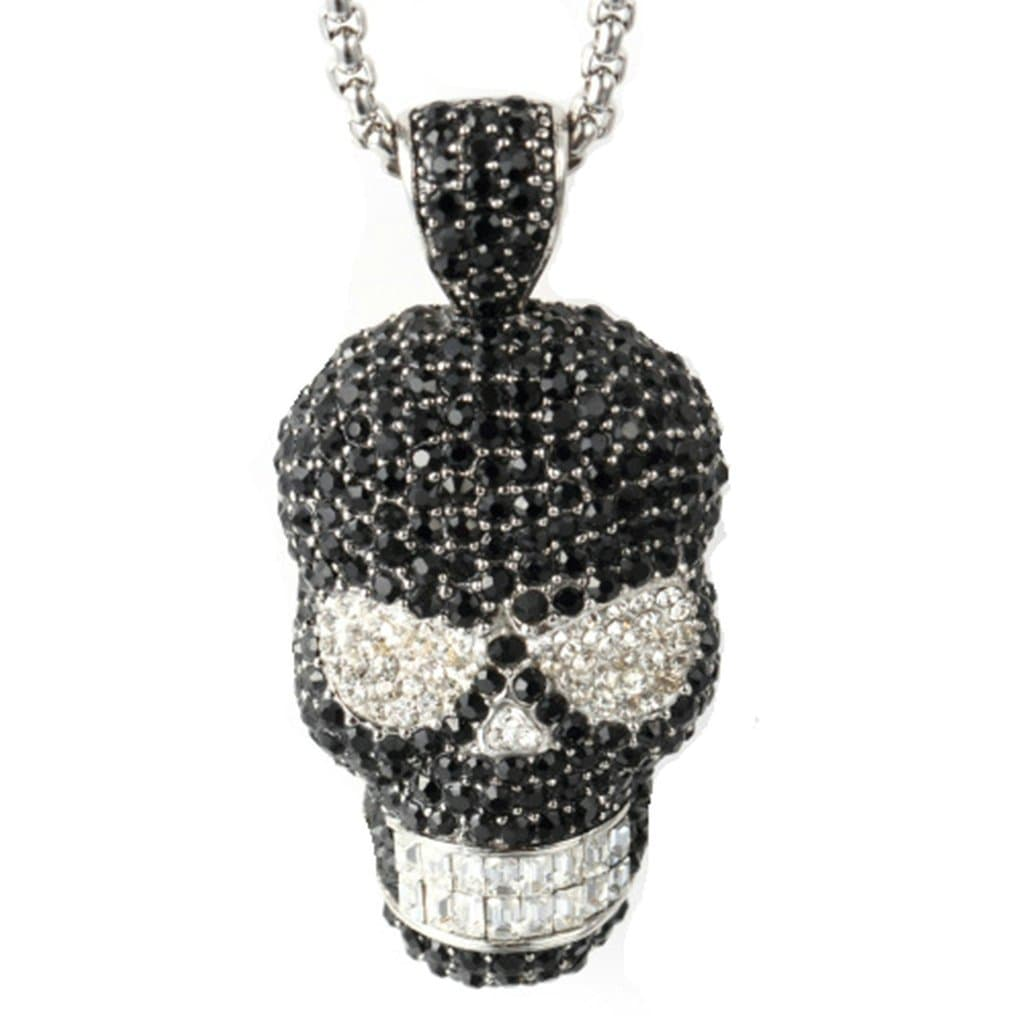 Stainless Steel Mens Zirconia Skull Pendant Necklace Punk Silver Chain Link