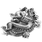 Stainless Steel Mens Dragon Pendant Necklace Fashion Silver Chain Link