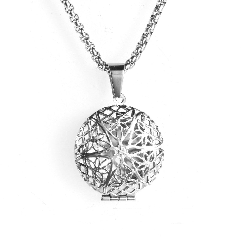 Stainless Steel Necklace for Women Pendant Hollow Snowflakes Silver