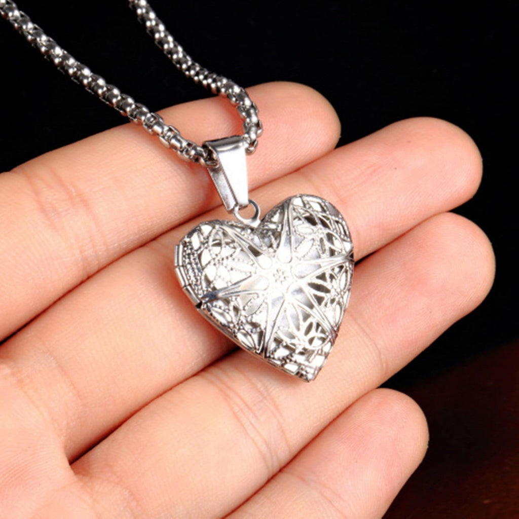 Stainless Steel Necklace for Women Pendant Love Hollow Snowflakes Silver Gifts