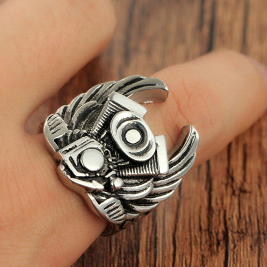 Stainless Steel Mens Ring Punk Wing Engine Silver Free Engraving