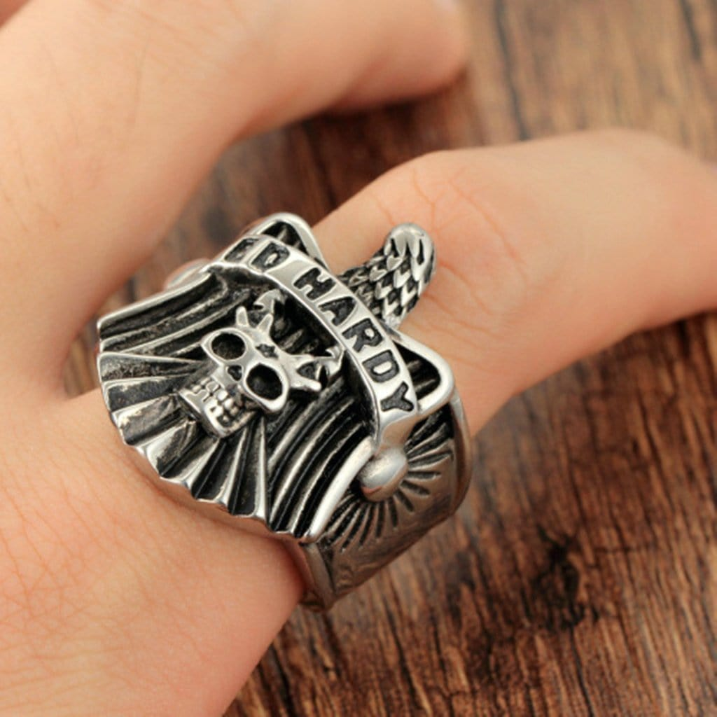 Stainless Steel Ring for Men Punk Silver Eagle Skull Free Engraving
