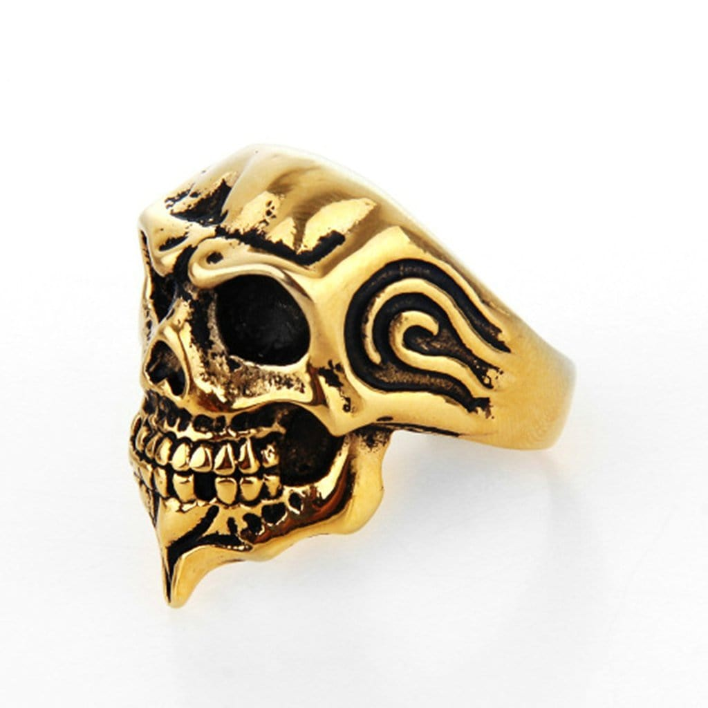 Stainless Steel Ring for Men Punk Skull Zircon Gold Free Engraving