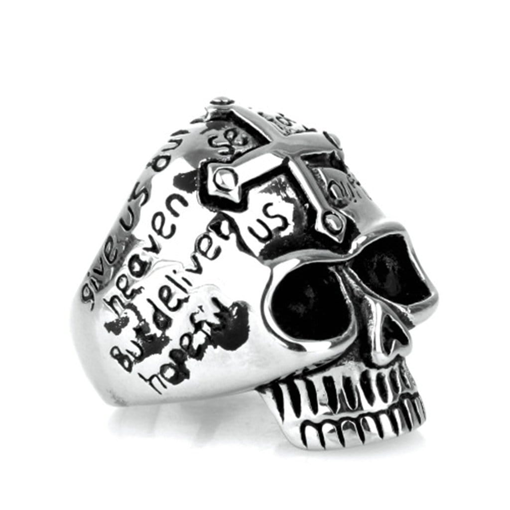 Stainless Steel Ring for Men Punk Silver Cross Skull Free Engraving