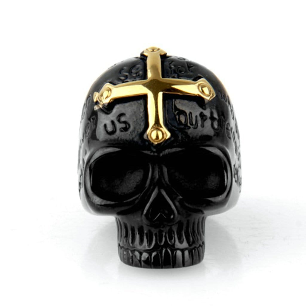 Stainless Steel Ring for Men Punk Black Cross Skull Free Engraving
