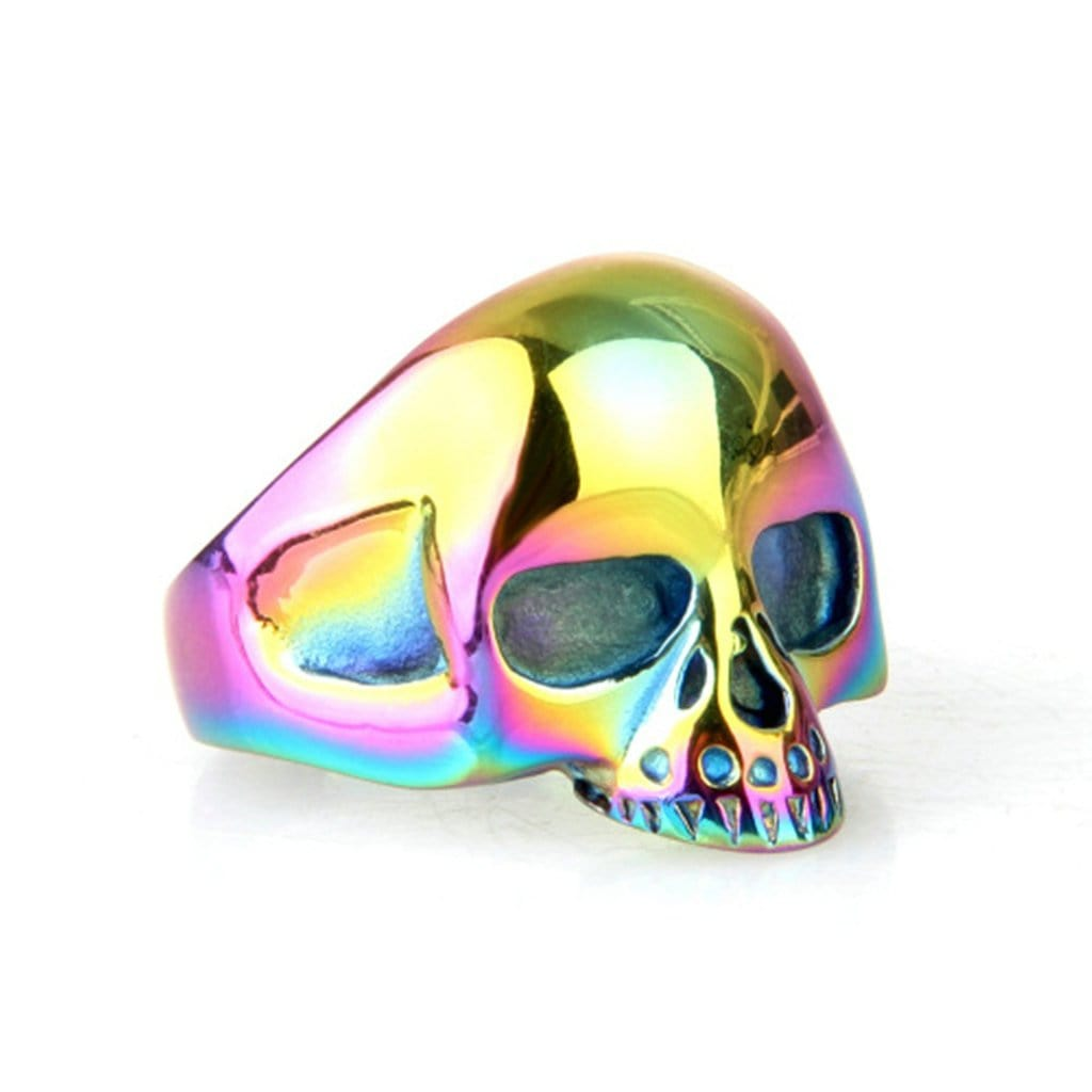 Stainless Steel Rings Vintage Punk Punk Color Skull Free Engraving