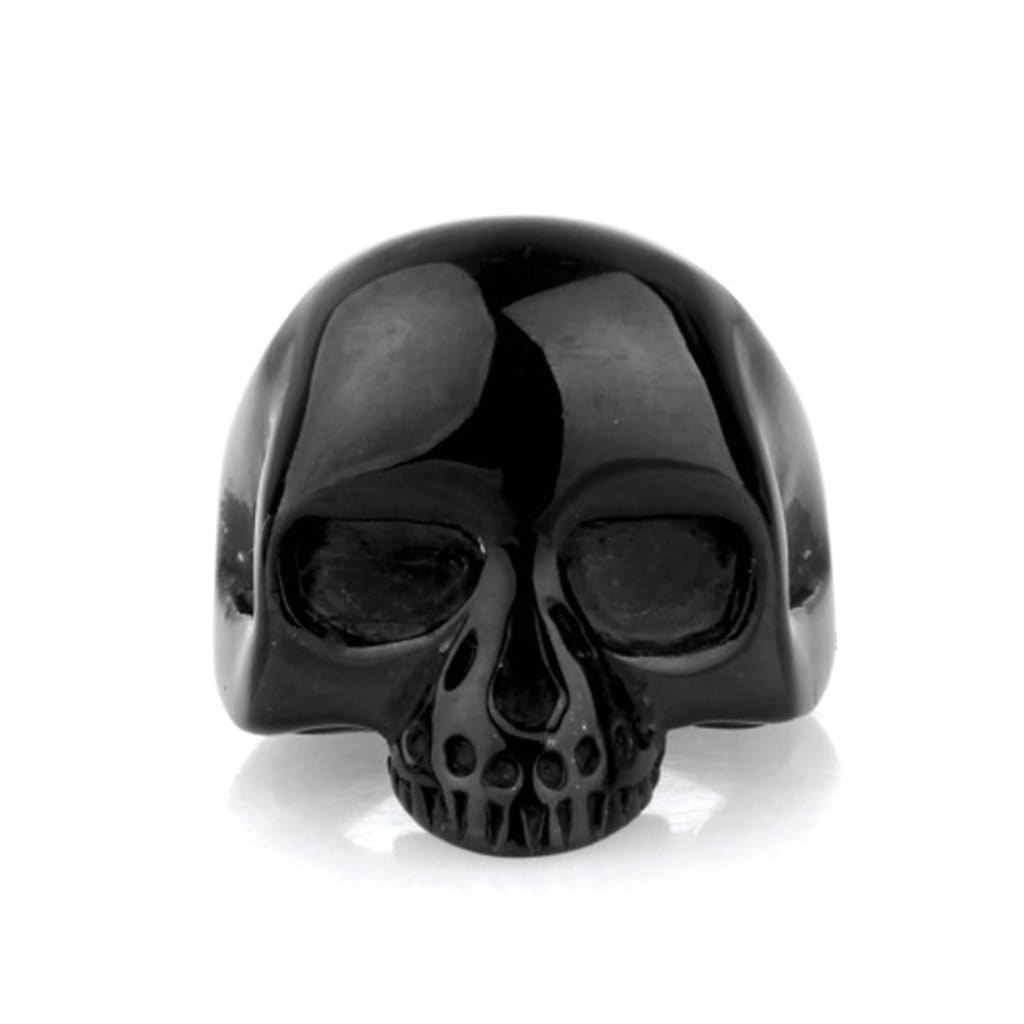 Stainless Steel Rings Vintage Punk Punk Black Skull Free Engraving