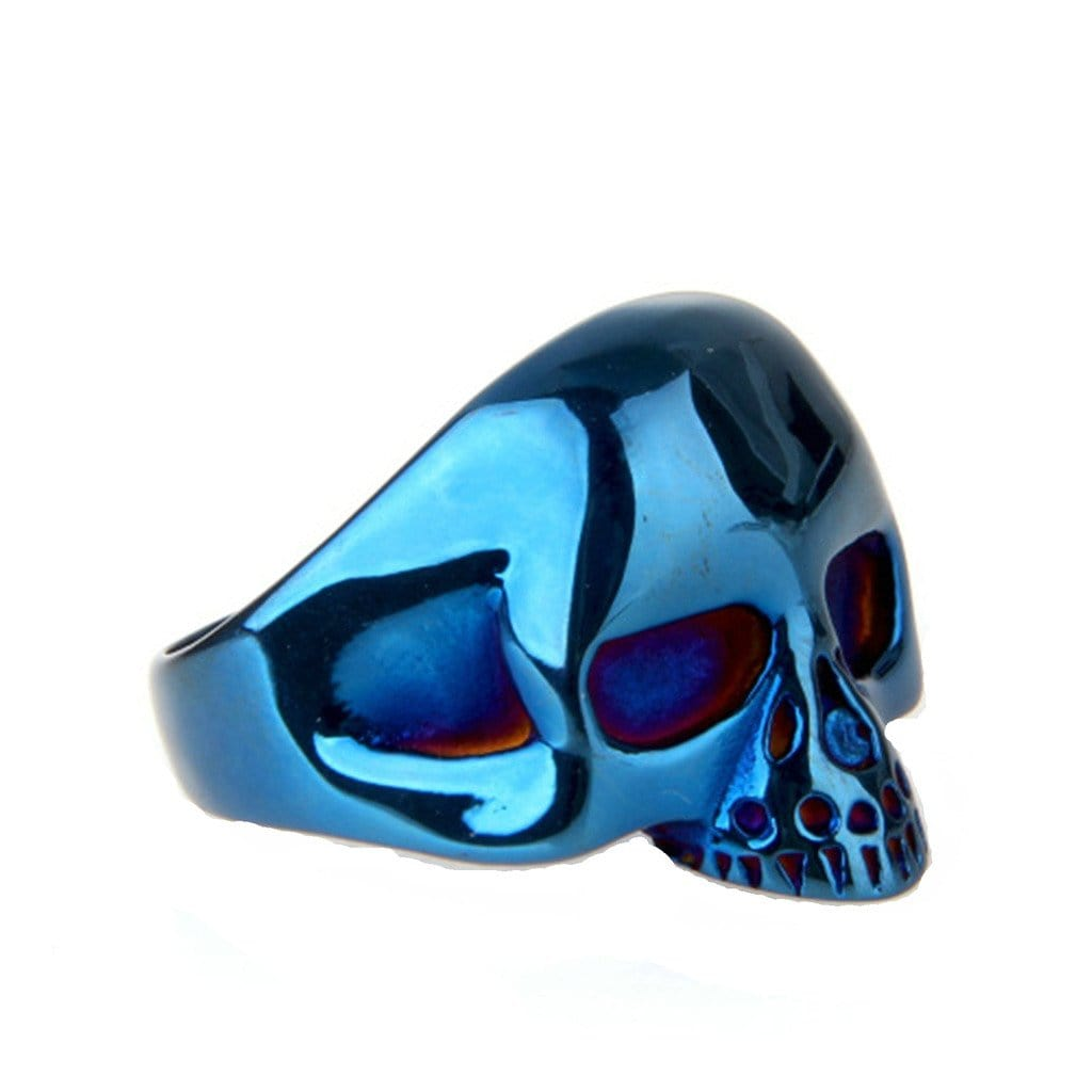 Stainless Steel Rings Vintage Punk Punk Blue Skull Free Engraving