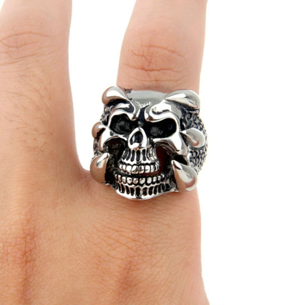 Stainless Steel Mens Ring Punk Six Prong Skull Silver Free Engraving