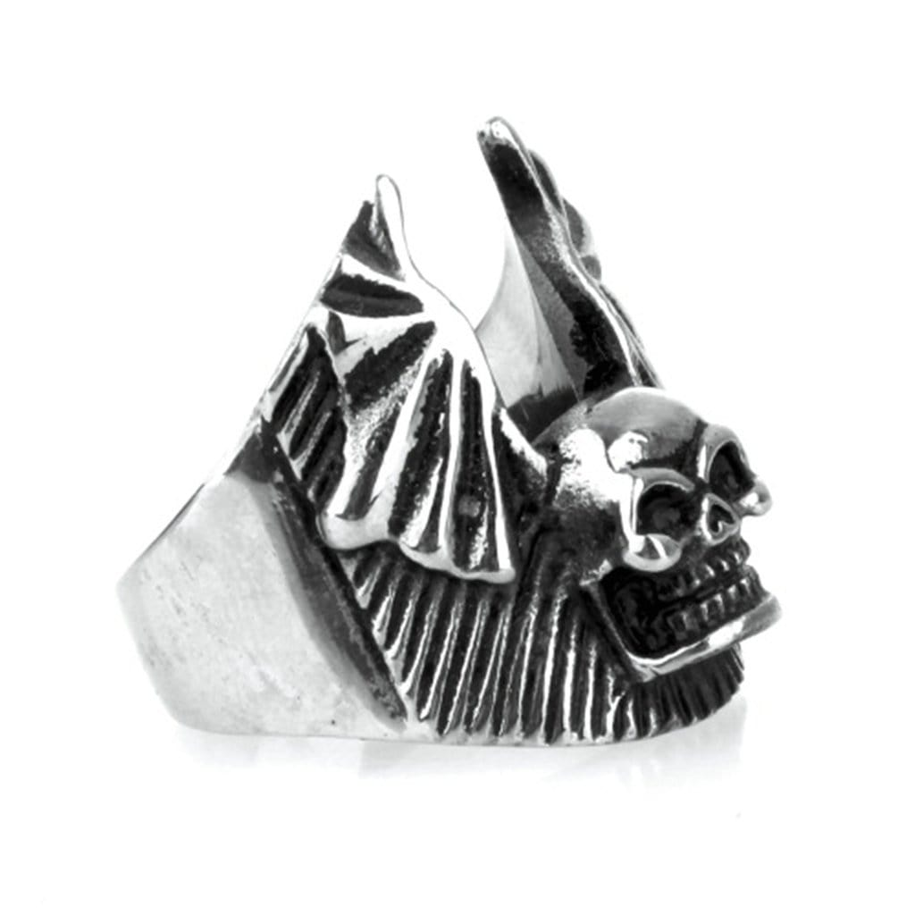 Stainless Steel Ring for Men Punk Silver Skull Wings Free Engraving