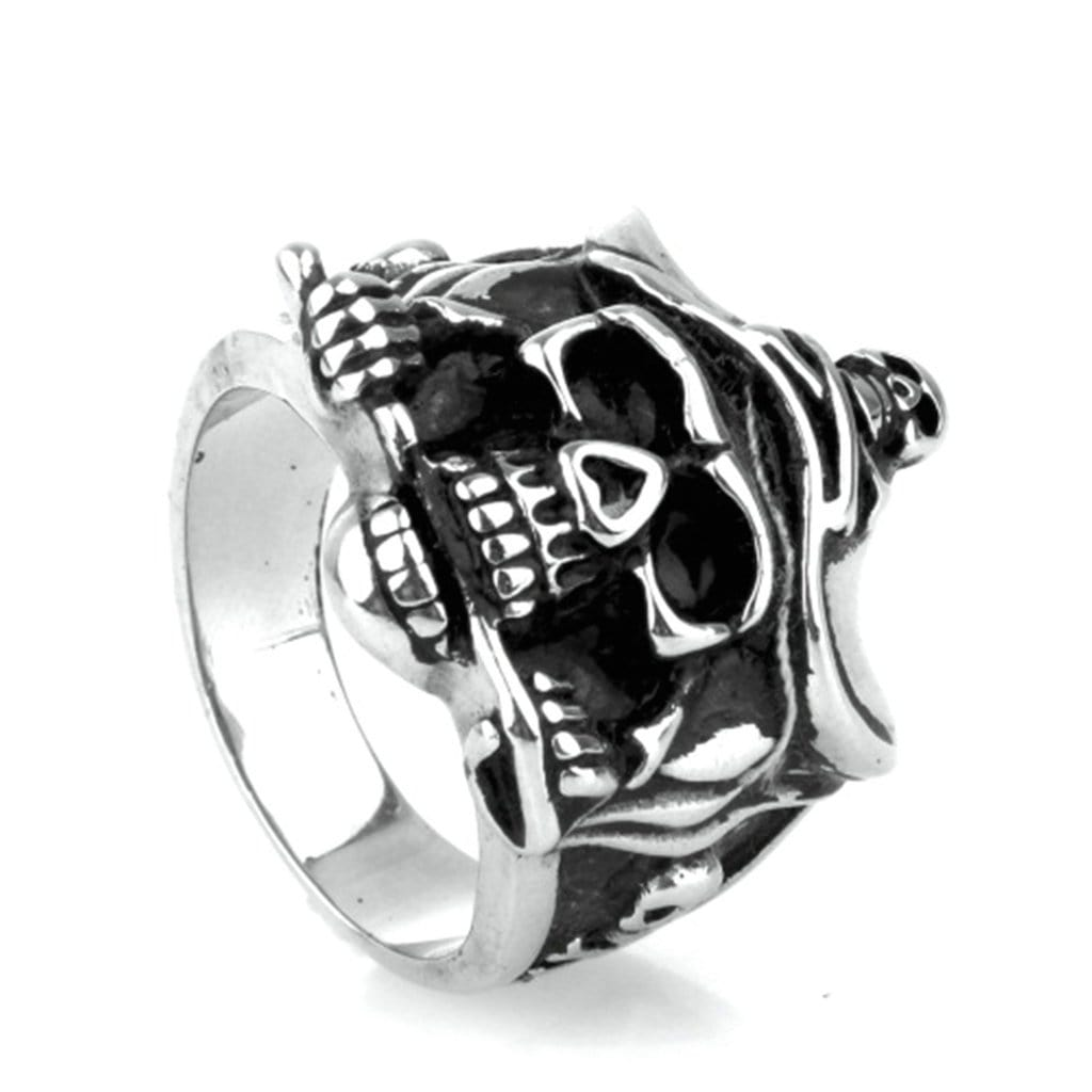 Stainless Steel Mens Ring Punk Pirate Captain Skull Silver Free Engraving