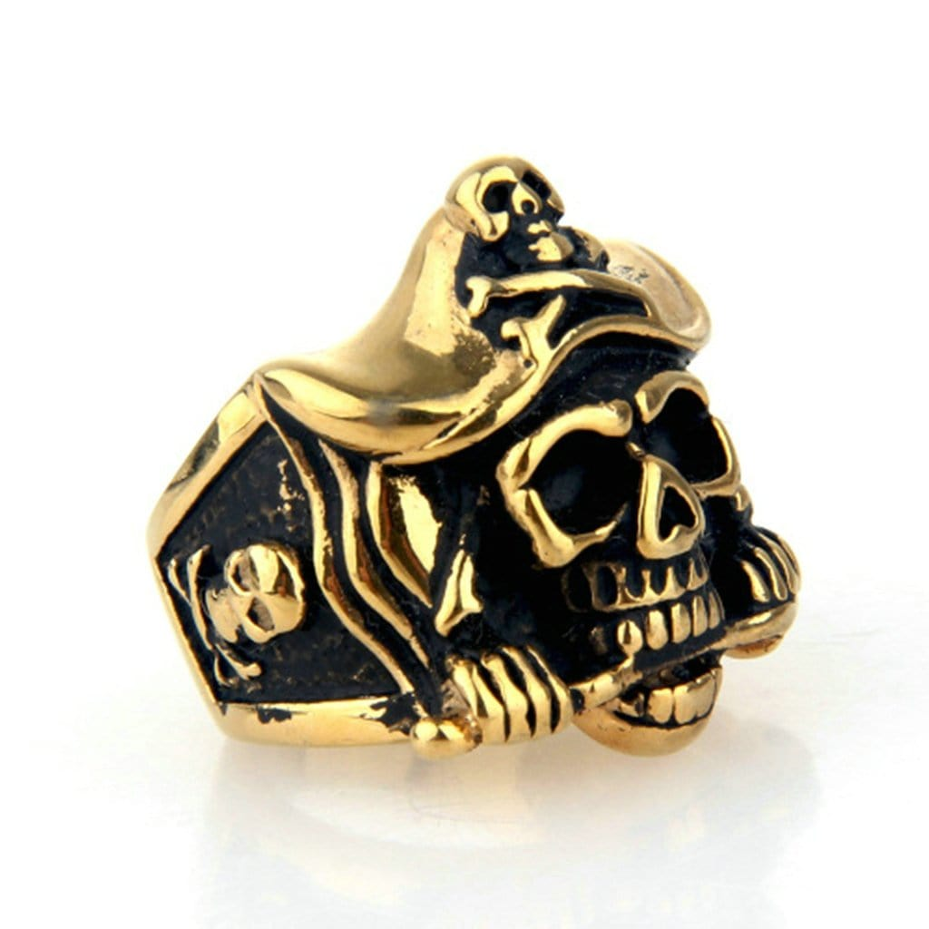 Stainless Steel Mens Ring Punk Pirate Captain Skull Gold 10 Free Engraving