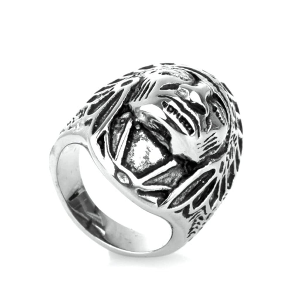 Stainless Steel Mens Ring Punk Retro Indian Silver Free Engraving