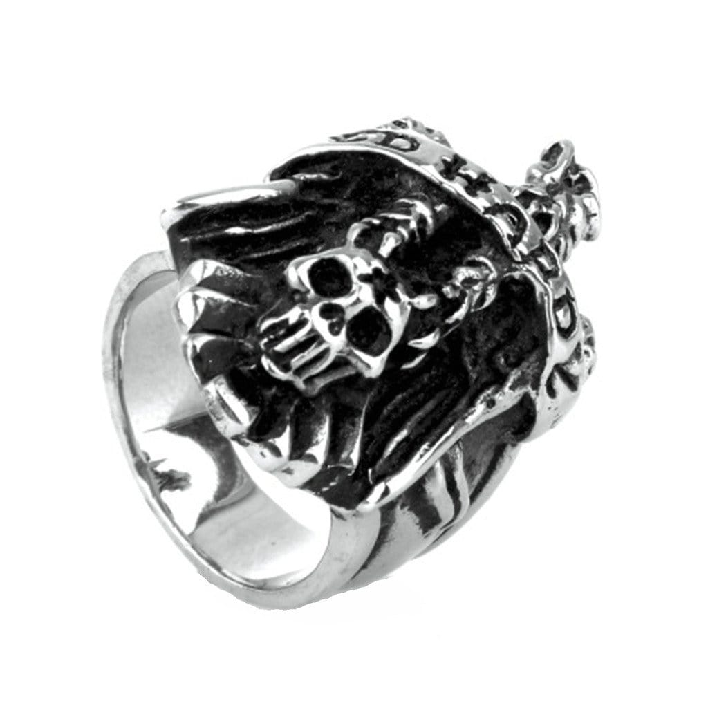 Stainless Steel Ring for Men Punk Silver Vulture Skull Free Engraving