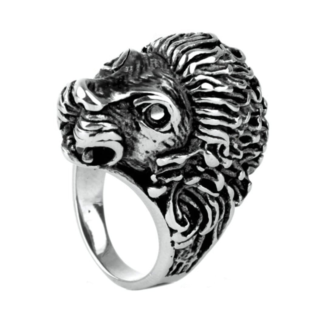 Stainless Steel Ring for Men Punk Silver Lion'S Head Free Engraving