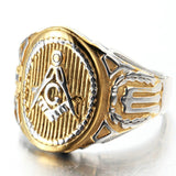 Stainless Steel Ring for Men Retro Silver Gold G Masonic Free Engraving