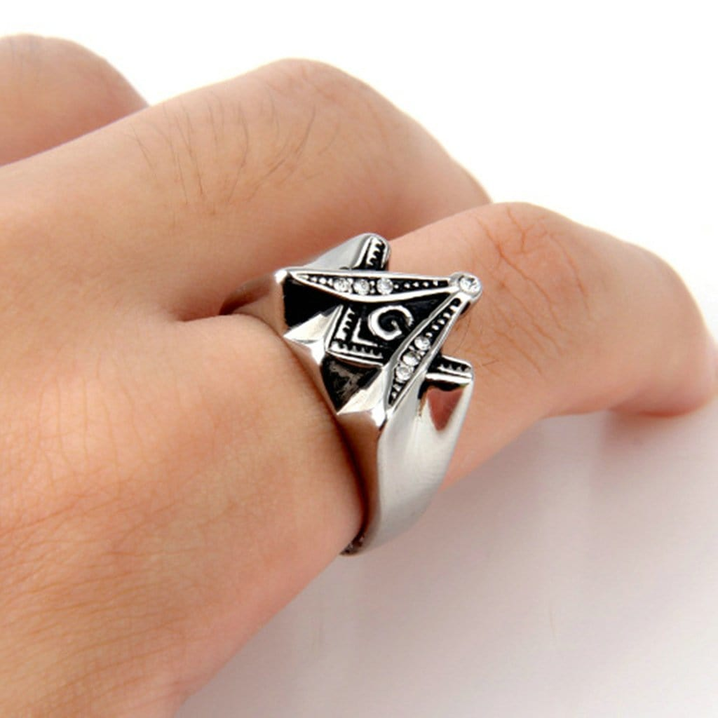Stainless Steel Mens Ring Retro Cz G Masonic Silver Free Engraving