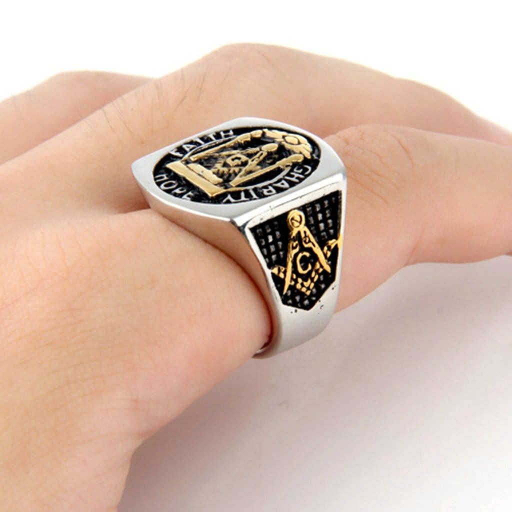 Stainless Steel Mens Ring Masonic Letter Silver Free Engraving