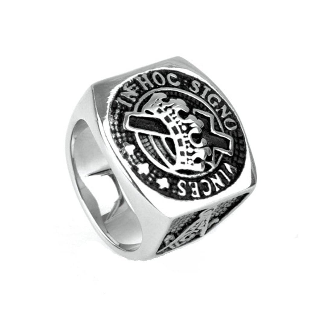 Stainless Steel Ring for Men Punk Silver Crown Masonic Free Engraving