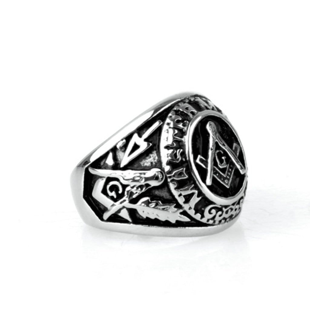 Stainless Steel Mens Ring Retro Masonic Silver Free Engraving