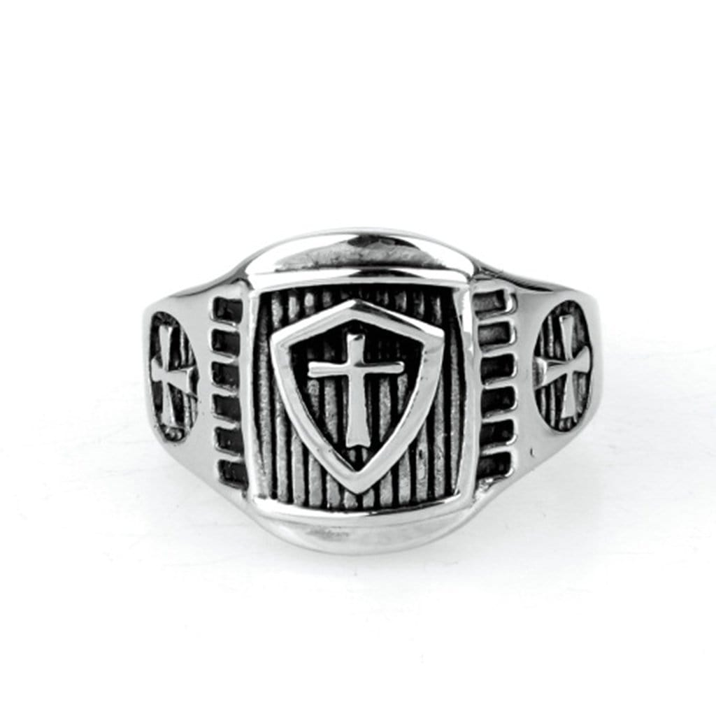 Stainless Steel Ring for Men Vintage Silver Cross Free Engraving