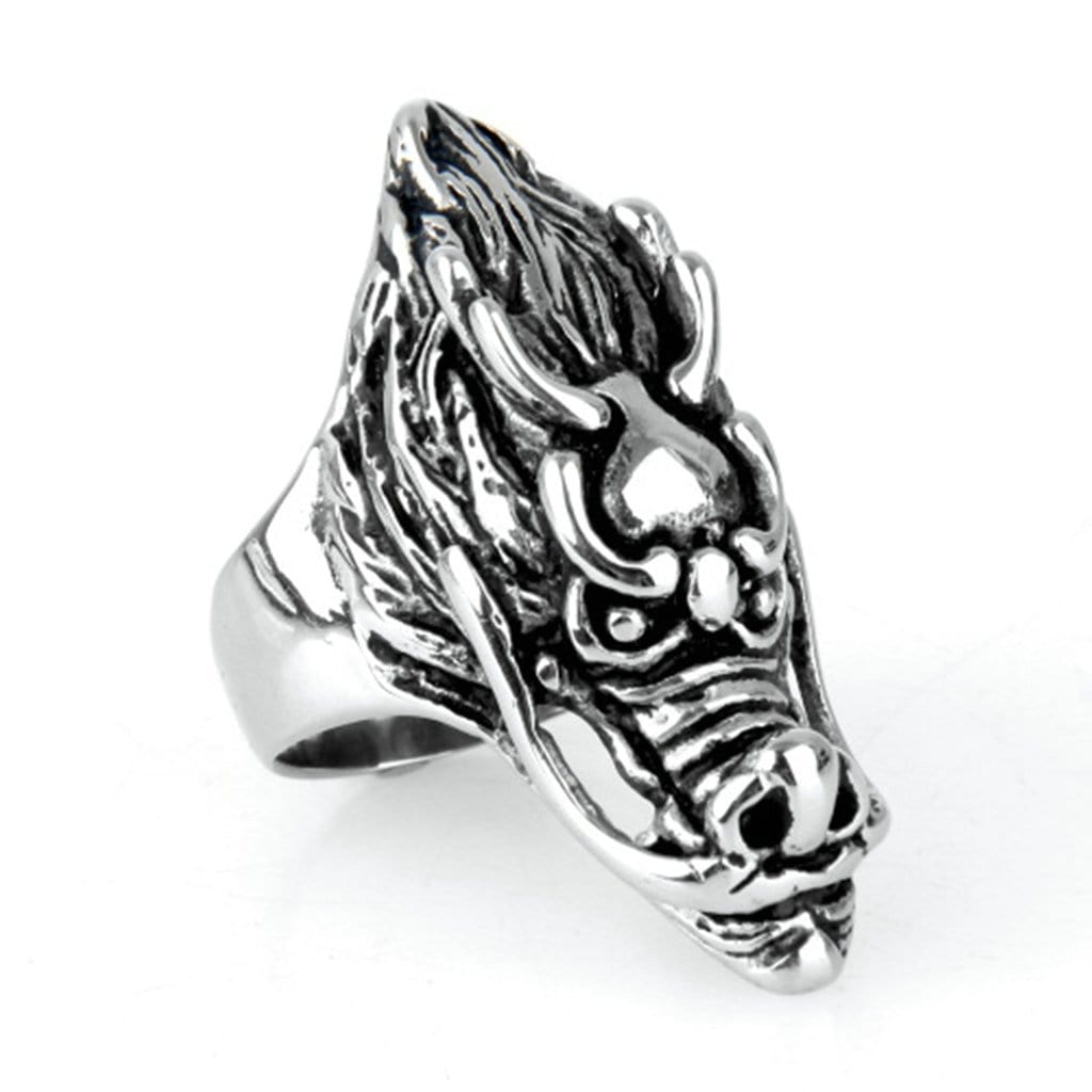 Stainless Steel Rings for Men Jewelry Punk Silver Dragon Free Engraving
