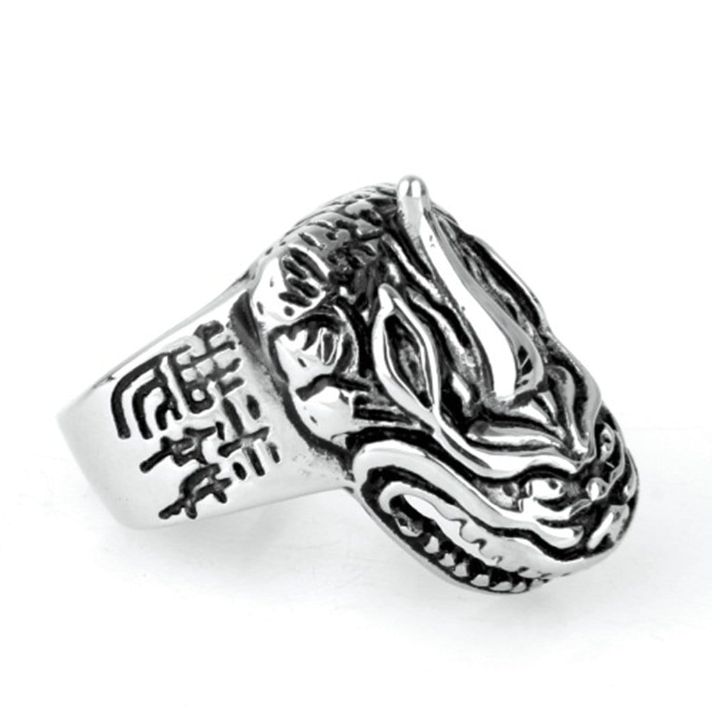 Stainless Steel Ring for Men Vintage Silver Kirin Free Engraving