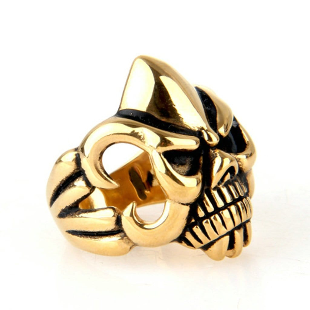 Fashion Stainless Steel Ring for His Punk Gold Skull Men'S Rings