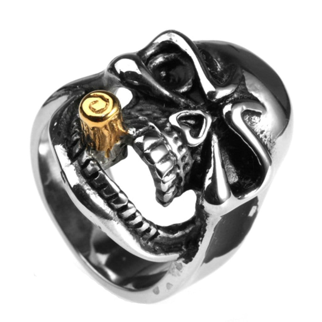 Stainless Steel Ring for Men Punk Silver Smoking Skull Free Engraving