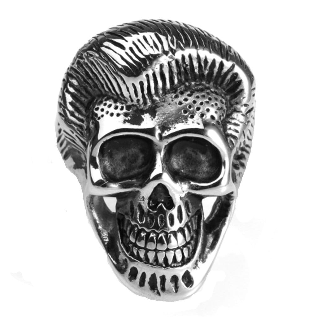Stainless Steel Mens Ring Punk Elvis Skull Gold Free Engraving