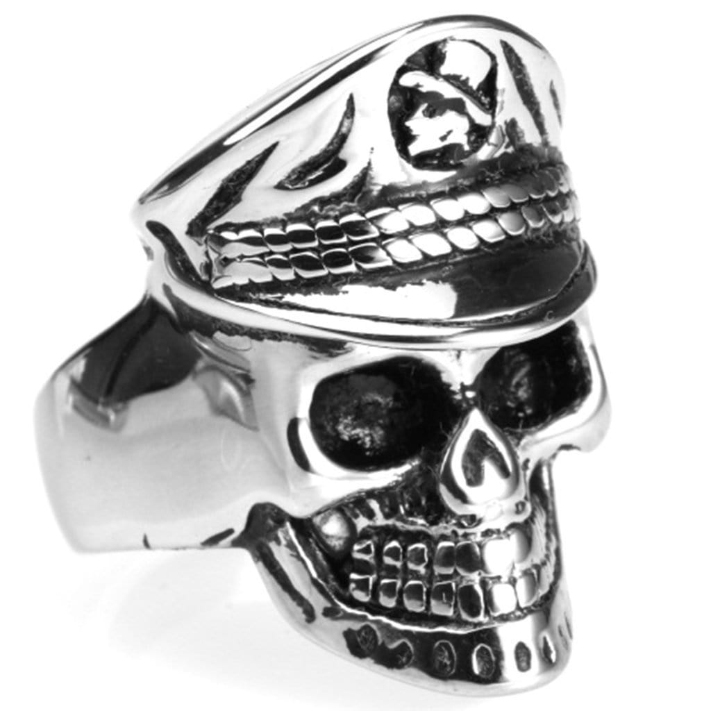 Stainless Steel Ring for Men Punk Silver Navy Skull Free Engraving