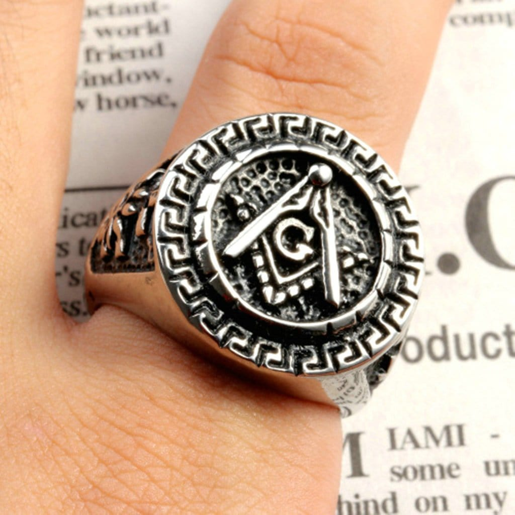 Stainless Steel Mens Ring Punk Round Masonic Silver Free Engraving
