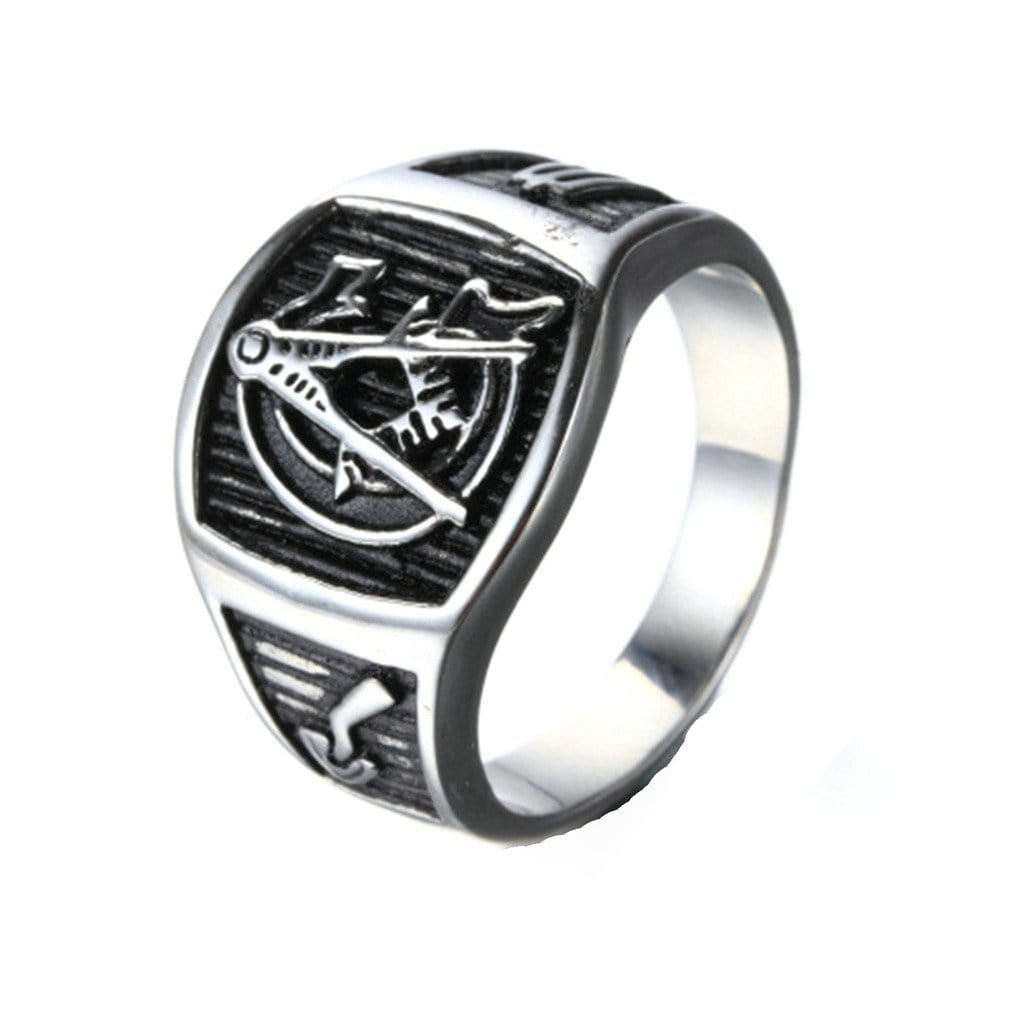 Stainless Steel Ring for Men Retro Silver Gold Masonic Free Engraving